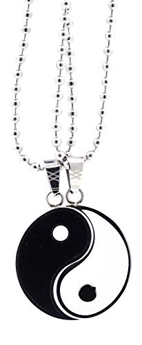Yin Yang Necklace 2 Piece Set for 2 Best Friends, Girls, Boys, Couples from Stainless Steel by Mandala Crafts