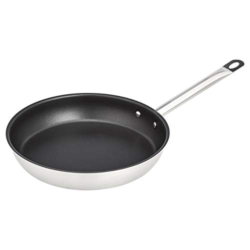 "AmazonCommercial 11"" Non-Stick Stainless Steel Aluminum-Clad Fry Pan with Non-Stick Coating"