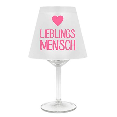 WB wohn trends Lampenschirm für Weinglas ~ Lieblings-Mensch mit Herz, rosa ~ Schirm ohne Glas ~ Windlicht
