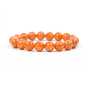 Orange Calcite Bracelet, Natural Gemstone Stretch Beaded Bracelet