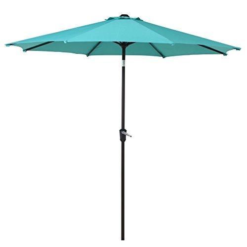 Grand Patio 9 FT Enhanced Aluminum Patio Umbrella, UV Protected outdoor Umbrella with Auto Crank and Push Button Tilt, Blue
