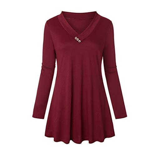 Damen Minikleid Tops Langarm Slim-Fit V Ausschnitt Plissiert T Shirt Oberteil Frühling, Sommer und Herbst neu Beiläufigen Dünne Streetwear Sweatshirt M