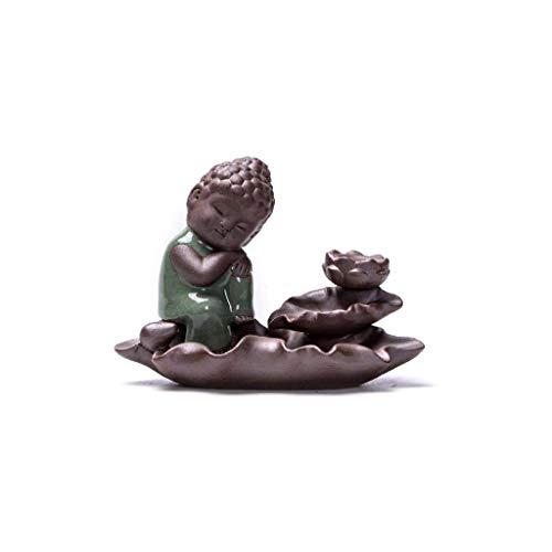 SCDZS Quemador de incienso de cerámica, quemador de incienso de Buda monje y luna, incensario de cerámica para decoración del hogar, ceremonia del té