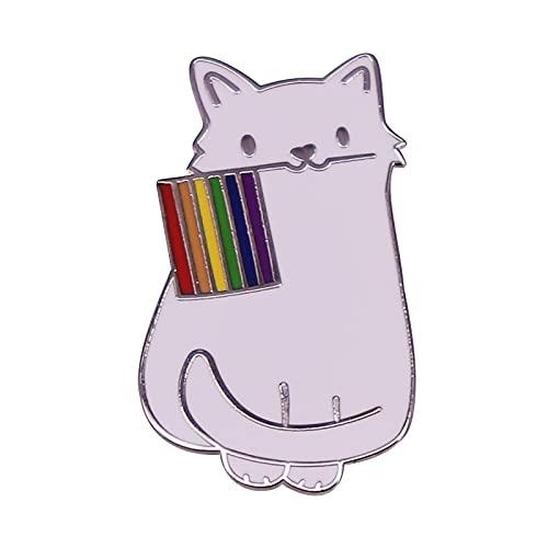 COLORFULTEA Lindo Gato Pin De Esmalte Duro LGBTQ LGBT Orgullo Gay Bandera del Arco Iris Insignia Mochila Accesorios
