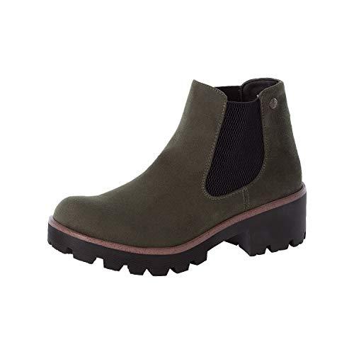 Rieker Damen Stiefeletten, Frauen Chelsea Boots, Stiefel Kurzstiefel Bootie Schlupfstiefel hoch,Grün(Tanne),39 EU / 6 UK