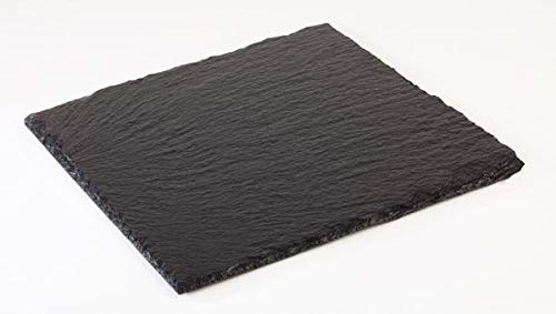 Kadida Naturschieferplatte -viereckig- aus Schiefer, ideal als Servierplatte, Schneideplatte, Untersetzer, Frühstückbrett (30x30cm)