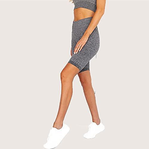 MLLM Pilates Bolsillos Elástico Transpirable,Pantalón Deportivo sin Costuras de Cinco Puntos;Pantalones Cortos Deportivos Deportivos-Gris Oscuro_S,Polainas para Running Pilates Fitness