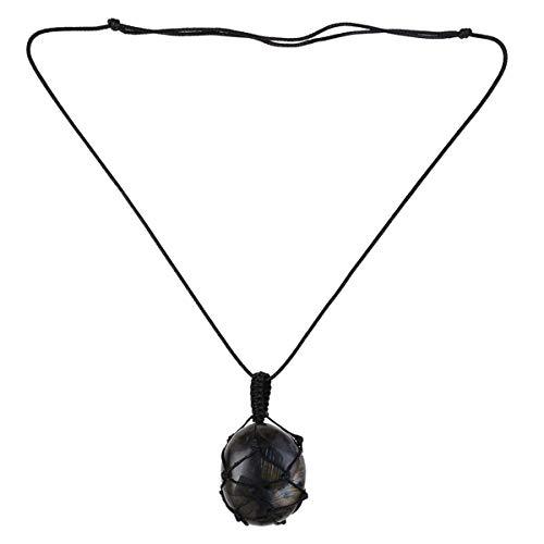 Collar de piedra con colgante natural de macramé de yoga para hombres y mujeres