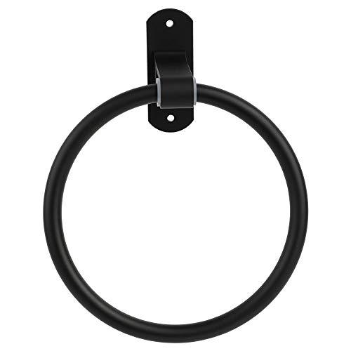ViaGasaFamido Moderno Diseño de Anillos de Toalla Práctico Soporte de Toalla Montado En La Pared Simple Negro Redondo Suave Toallero para Baño