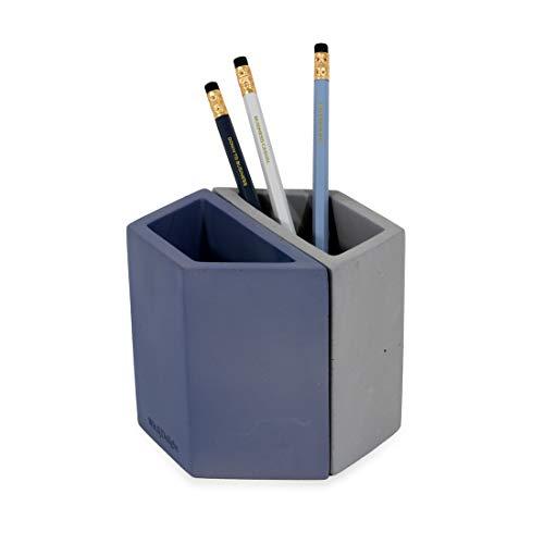 Wit & Delight - Concrete Pencil Holder   Size: 4' x 3.25'   Set of 2   Blue