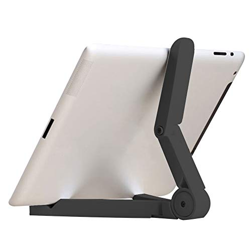 Chutoral Tablet Holder Phone Stand Lazy Mount Stand Folding Adjustable Desk Holder for iPhone Galaxy Tablet iPad Air(Black)