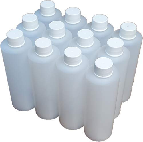 12 Pack 8oz Natural HDPE Refillable Bottles, 120ml with 24/410 Cap