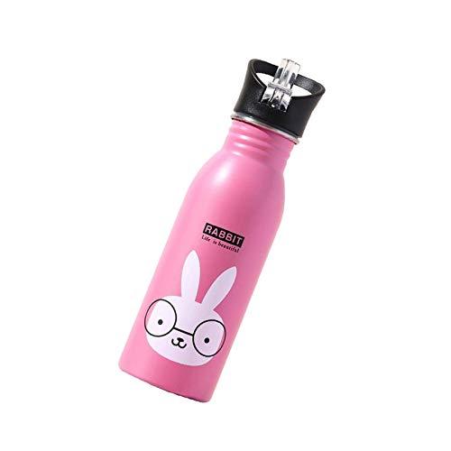 litulituhallo Preciosa botella de agua para niños con tapa de paja y tapa deportiva, doble pared aislada patrón animal de acero inoxidable