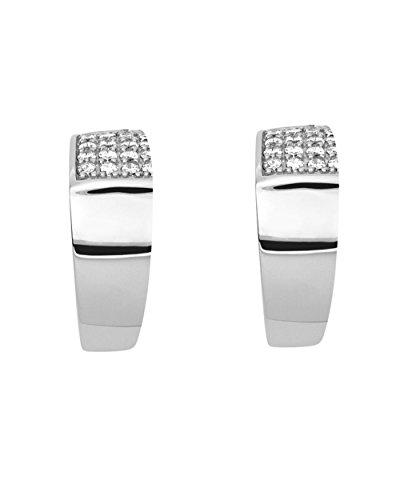 Fossil Ohrringe JFS00360 Damen Creolen Sterling-Silber 925 weiß Zirkonia