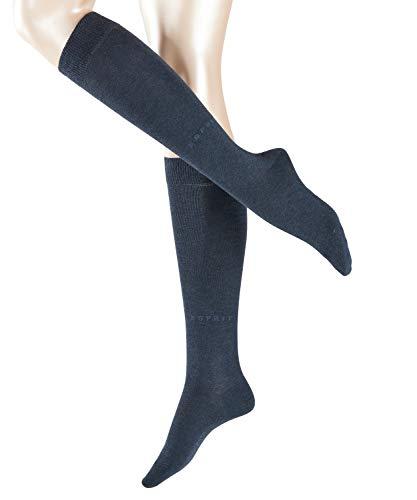 ESPRIT Damen Kniestrümpfe Basic Pure - Baumwollmischung, 1 Paar, Blau (Navy Blue Melange 6490), Größe: 35-38