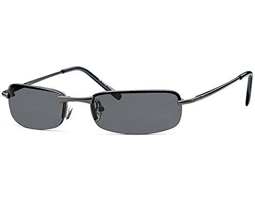 Kaiser-Handel sb06 - Occhiali da sole rettangolari da uomo, occhiali da sole, lenti grigie con cerniera a molla, per spiaggia, vacanze