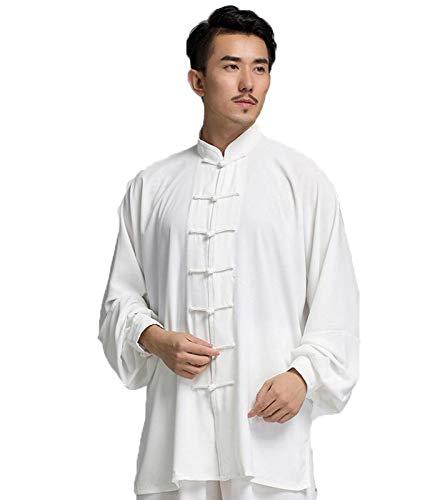 FUYY Chinesischen Stil Taiji Kleidung Weibliche Sommer Pflanze Baumwolle Martial Arts Performance Kleidung Herren Morgen Übung Uniform Mittleren Alters Tang Anzug Sport Anzug,White-M