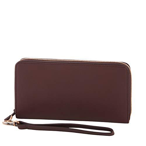 Klatta by Offermann Damen Portemonnaie aus hochwertigem Leder mit Handschlaufe und 16 Kartenfächern 19,5x10,5x3cm (braun)