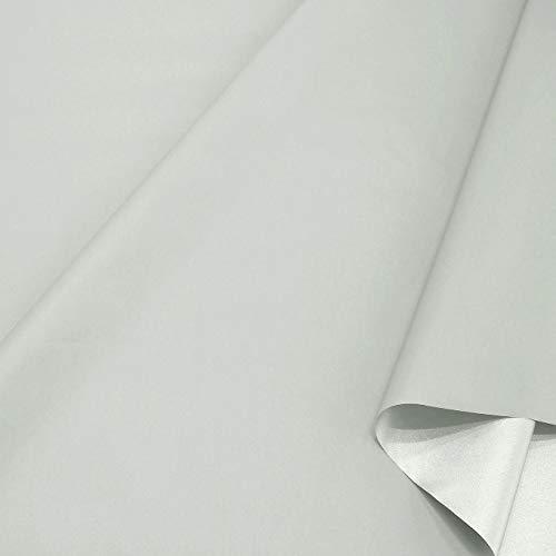 TOLKO Sonnenschutz Stoff mit Silber Thermo-Beschichtung | Verdunklungsstoff mit hoher Lichtdichte | Fensterfolie Hitzeschutz Verdunklungsfolie für Verdunklungsvorhänge Gardinen Meterware (Hell Grau)