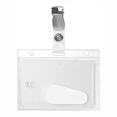 Karteo® Ausweishülle mit Clip | Kartenhalter mit Daumenausschub horizontal | Ausweishalter aus Hartplastik Polycarbonat für Ausweise Dienstausweise