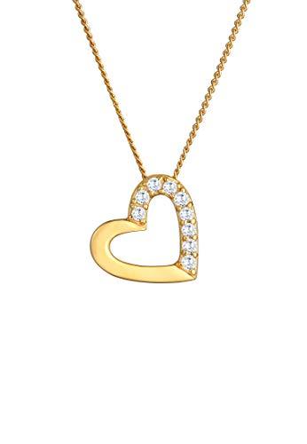 Elli PREMIUM Halskette Damen Herz mit Zirkonia Steinen in 585 Gelbgold