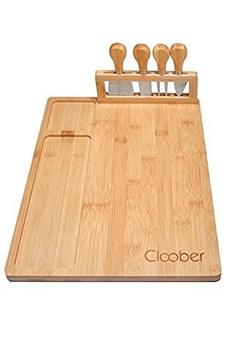 Cloober Tabla para quesos de Bambú 100% Natural Que Incluye Cuatro Cuchillos de Acero Inoxidable para Cortar y Untar Queso.