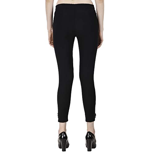 Istyle Can Fashionable Cotton Lycra Stretchable Slim Fit Straight Casual Cigarette Pants for Girls/Ladies/Women (Black, Medium)