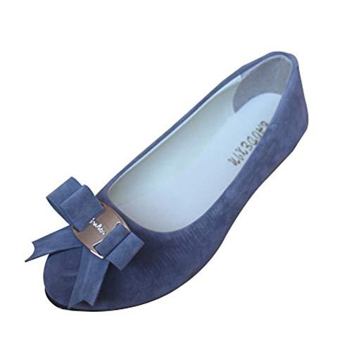 Mujer Manoletinas Zapatos Pumps Cerrados Bailarina clásico Pajarita del talón del Plano,Gris,37 EU