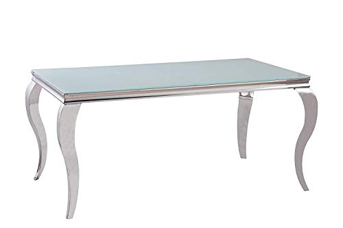 Designer Esstisch aus poliertem Edelstahl Chrom 160 x 90 x 76 cm - sehr Kratzfest - perfekt geeignet als Esszimmertisch/Wohnzimmertisch (Weiße Glasplatte)
