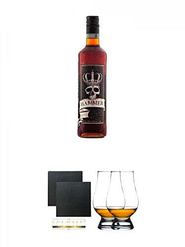 Hammer Schnaps deutsche Spirituose 0,7 Liter + Schiefer Glasuntersetzer eckig ca. 9,5 cm Ø 2 Stück + The Glencairn Glass Whisky Glas Stölzle 2 Stück