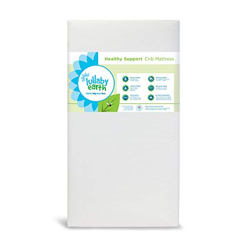Lullaby Earth Non-Toxic Crib Mattress - Waterproof - Fits Standard Baby and Toddler Bed, White