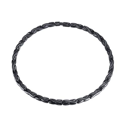 Calenya Black Stainless Steel Magnetic Therapy Necklaces for Women Men for Health Healing Neck Arthritis Migraine Headaches Jewelry