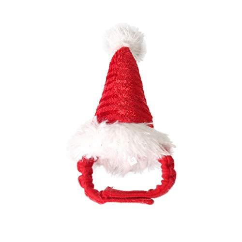 Balacoo Hamster weihnachtsmütze Haustier weihnachtsferien kostüm Hut Kappe Kopf zubehör für welpen Hund Katze meerschweinchen Kaninchen kleine Tiere (rot)