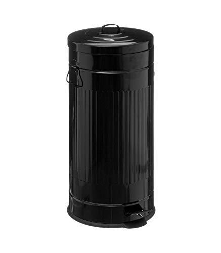 Five - Poubelle 30 litres Cadence en Métal Noir Ouverture à pédale