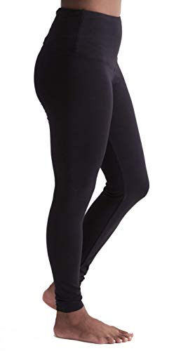 Pang Wangle Insect Shield High Waist Contour Leggings in Breathable Organic Cotton, Perfect for Outdoors & Travel (Extra Small, Black)
