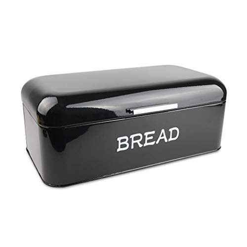 HOSEN Bread Box For Kitchen Counter, Large Kitchen Food Storage Container Bread Bin Vintage Bread Storage Box for Cake, Waffles (BLACK)