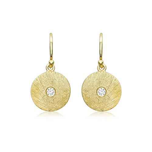 Carissima Gold Pendientes Candelabro Disco Cepillado 11.5mm x 22.5mm Oro Amarillo 9 Quilates con Circonita para Mujer