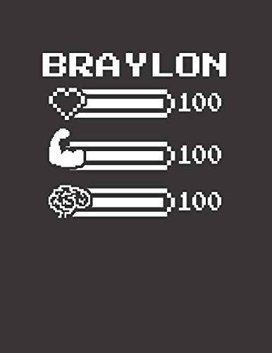 BRAYLON: Pixel Retro Game 8 Bit Design Blank Composition Notebook College Ruled, Name Personalized for Boys & Men. Gaming Desk Stuff for Gamer Boys....