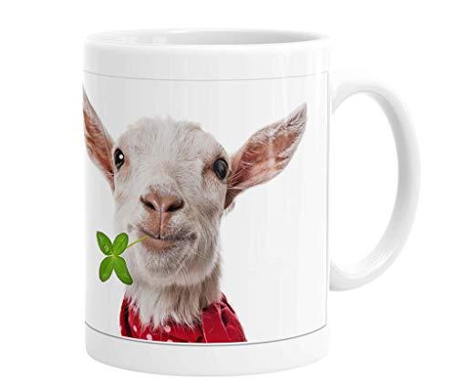 Becher/Tasse/Kaffeebecher/Kaffeepott aus Keramik - 330 ml Motiv: Ziege mit Klee im Maul (01)