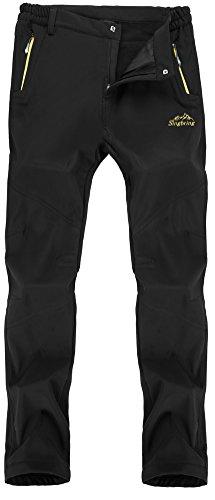 Singbring Men's Outdoor Waterproof Hiking Pants Windproof Ski Pants Large Black(026F)