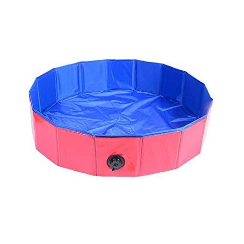 1pc Perro Plegable de baño de hidromasaje Piscina Mascota portátil a Prueba de Fugas Piscina Gato de baño Piscina de Interior al Aire Libre (Rojo 80 * 20 cm)