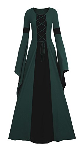 Meilidress Women Medieval Dress Lace Up Vintage Floor Length Cosplay Retro Long Dress Dark Green