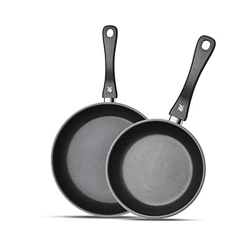WMF Set de dos sartenes Devil 24 cm y 28 cm, con antiadherente para todo tipo de cocinas incluido inducción, acero inoxidable con recubrimiento antiadherente