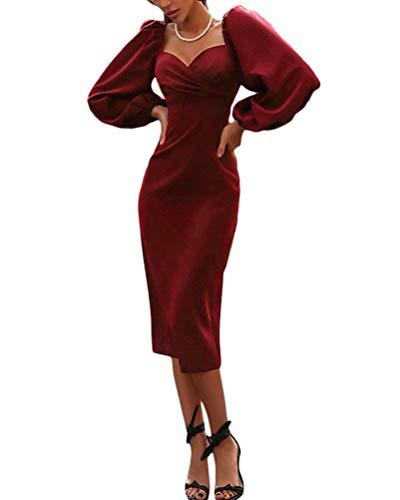 Minetom Mujer Elegante Color Sólido Vestido Chic Cuello en V Manga Larga Otoño Invierno Bodycon Cóctel Fiesta Negocios Midi Dress A Vino Tinto 40