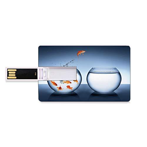 128GB USB-Flash-Thumb-Laufwerke Aquarium Bank Kreditkarte Form Business Key U Disk Memory Stick Speicher Kleiner tapferer Goldfisch,der ein Goldfischglas zu einer anderen Mut-Verbesserung springt Deko