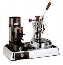 La Pavoni Chrome Combo set 4: Handhebel Espressomaschine La Pavoni Professional ELH, La Pavoni Kaffemühle JDL und Pavoni Grundplatte
