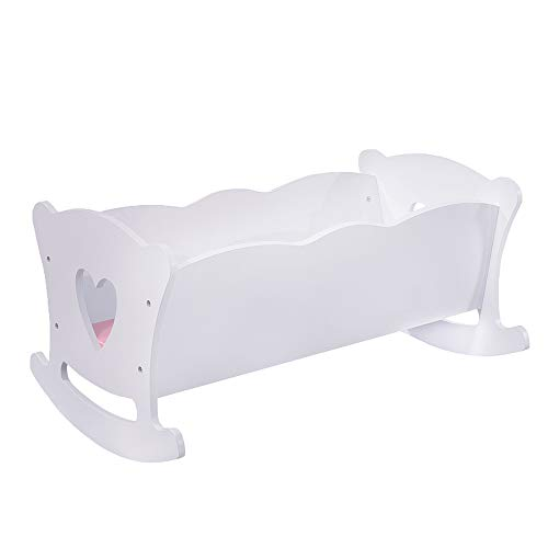 WODENY Doll Cradle Crib Rocking Bed Wooden Doll Furniture Accessory for...