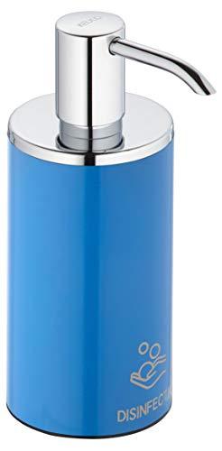 KEUCO Desinfektionsmittelspender, hochglanz-verchromt/blau, nachfüllbar ca. 250ml Standmodell inkl. Pumpe & Kunststoff-Einsatz stehend