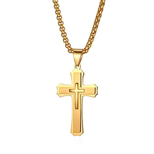 JewelryWe Herren Halskette, Edelstahl Klassisch Kreuz Anhänger mit 22 Zoll Kette, Gold, mit kostenloser Gravur