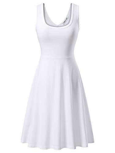 MSBASIC àrmelloses, ärmelloses Kleid mit Rundhalsausschnitt für den Sommer 18023-3, Weiß, S